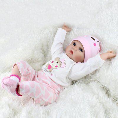 22'' Reborn Baby Dolls Realistic Vinyl Silicone Newborn Girl Doll Handmade Gifts 8
