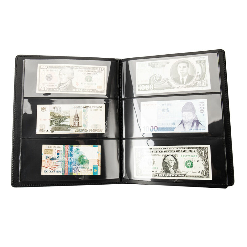 60 Pockets Soft Leather Notes Album Banknote Paper Money Collection Stamps Book 2
