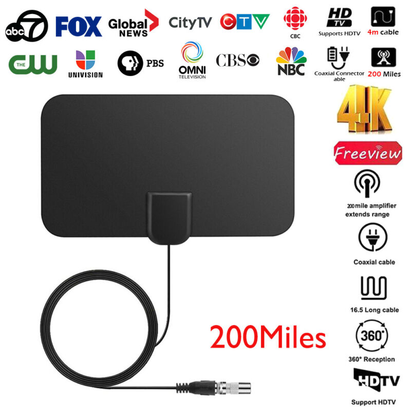 1/2 960 Miles Indoor Digital TV HDTV Antenna [2019 Latest] UHF/VHF/1080p 4K 2