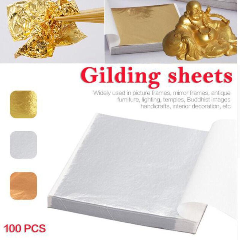 100X Art Craft Paper Imitation Gold Sliver Copper Leaf Leaves Sheets Foil Paper 3