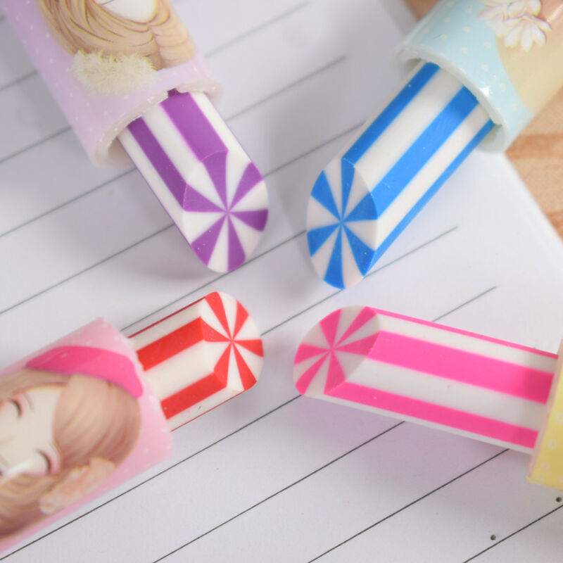 2pcs Colorful Lipstick Rotary Rubber Eraser Stationery Pencil Kids Students 5
