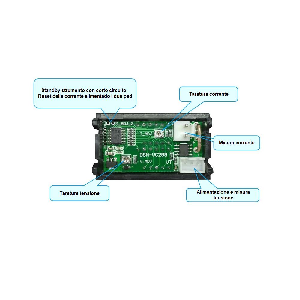 Voltmetro voltometro amperometro digitale da pannello 100V 10A modulare modulo 5