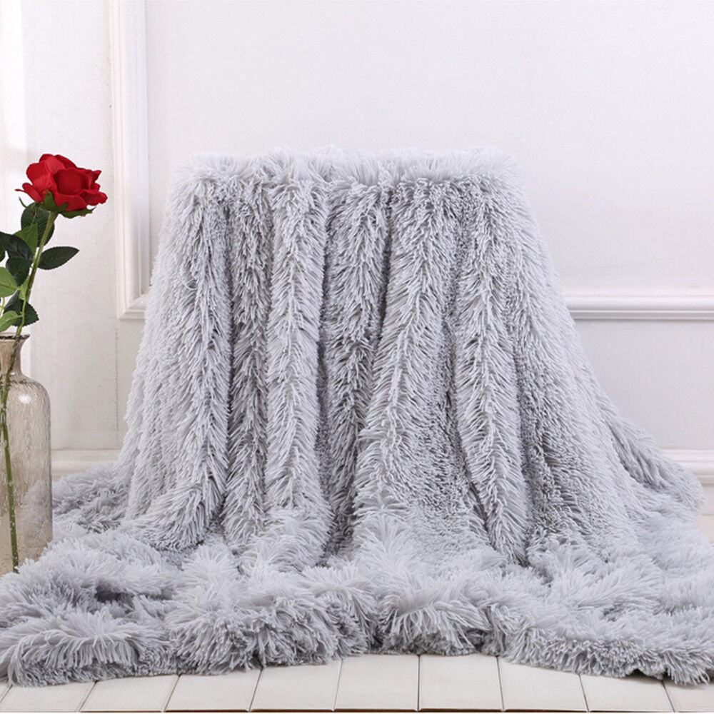 Faux Fur Blanket Long Pile Throw Sofa Bed Super Soft Warm Shaggy Cover Luxury 9