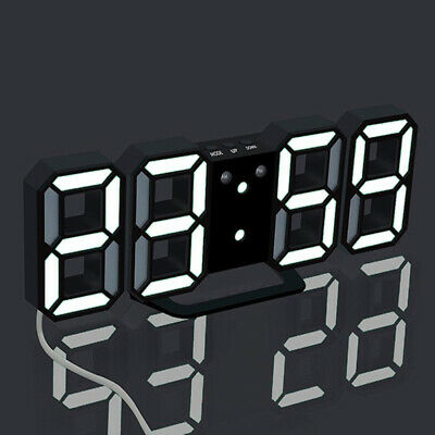 Digital 3D LED Wall/Desk Clock Snooze Alarm Big Digits Auto Brightness Clock UK 10