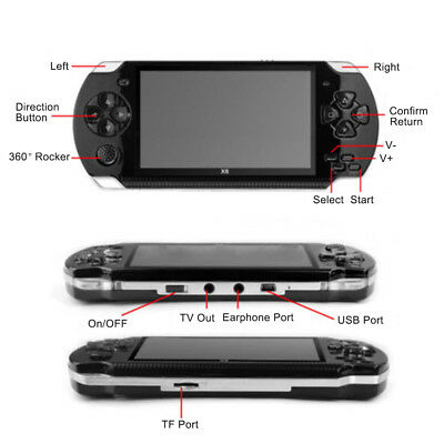 """64 Bit 4.3"""" PSP Portable Handheld Game 8GB Console Player 10000+Games +Camera 9"""