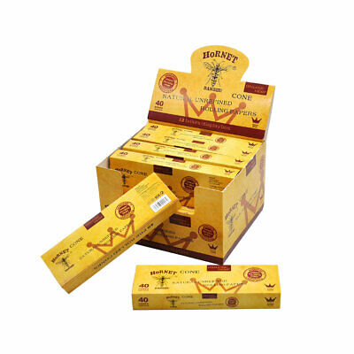 40Pcs King Size Pre-Rolled Cones Rolling Paper Tobacco Classic Cones Hornet 1box 3