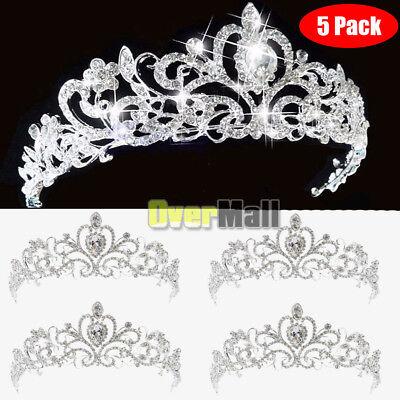 10 X Bridal Princess Austrian Crystal Tiara Wedding Crown Veil Hair Accessory US