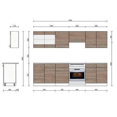 VICCO KÜCHE 270 Cm Küchenzeile Küchenblock Einbauküche – Sonoma ...