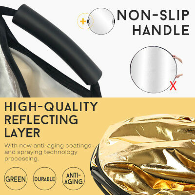 110CM 5in1 STUDIO PHOTOGRAPHY PHOTO COLLAPSIBLE LIGHT REFLECTOR & HANDLE GRIP AU 5
