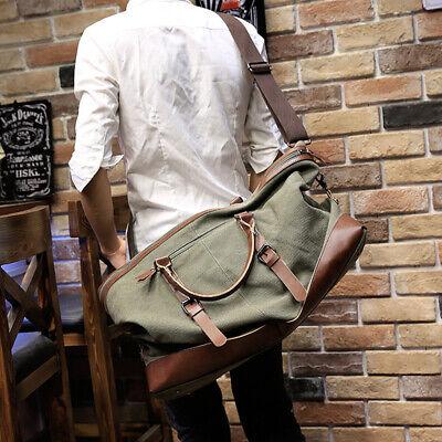 Vintage Men's Canvas Leather Travel Duffle Bag Shoulder Weekend Luggage Gym Tote 3