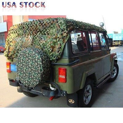 Woodland Camouflage Netting Military Camo Net Hunting w/ String Backing 13x10ft 5