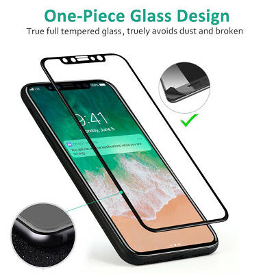 For Apple iPhone X XS Full Coverage Soft Edge 9H Tempered Glass Screen Protector 7