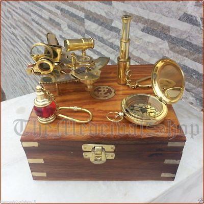 Vintage Maritime Compass/Telescope/Sextant W/Wooden Box Nautical Brass Gift Set 3