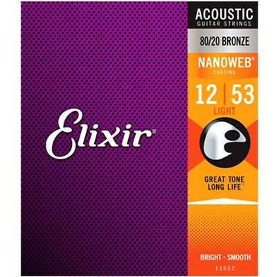 Elixir 11052 Acoustic Guitar Strings Nanoweb Light 12-53 80/20 Bronze A-NW-L 2