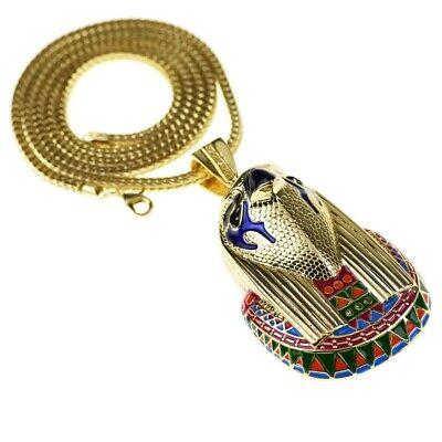 "Horus Falcon Egyptian Bird God Hip Hop Chain Gold Finish 36"" Franco Necklace 2"