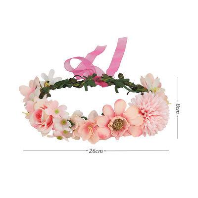 Adjustable Women's Beautiful Flower Crown Headband Hair Wreath Garland Ribbon 11