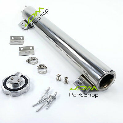 """Universal 2"""" x 13"""" Polished Stainless OZ Radiator Overflow Tank Bottle Catch Can"""