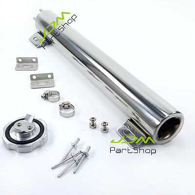 "Universal 2""x 13"" Polished Stainless OZ Radiator Overflow Tank Bottle Catch Can"