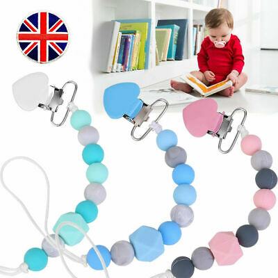 Dummy Clip Holder Baby Pacifier Clips Teething Silicone Beads Soother Chains UK 4