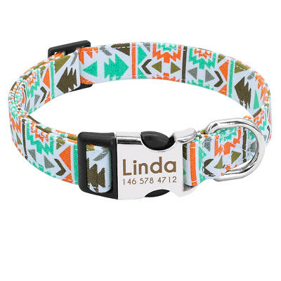 Unique Soft Nylon Personalized Dog Collar for Small Large Dogs Engrave Nameplate 7