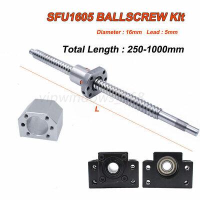 250-1000mm Antibacklash SFU1605 Rolled Ballscrew Ballnut BK/BF12+End Support Kit 2