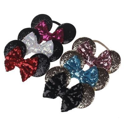Kids Sequin MINNIE MICKEY MOUSE Headband Ears Bow Fancy Party Dress Up Accessory 3