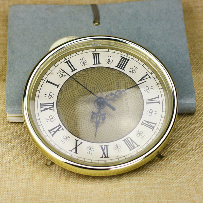 65mm/190mm Clock Quartz  Mechanism Movement Insert Numeral White Face Gold Trim 5