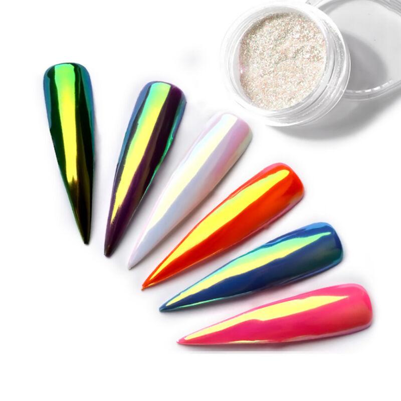 Color-Change Neon Aurora Mermaid Nail Art Glitter Powder Mirror Chrome Pigment 3