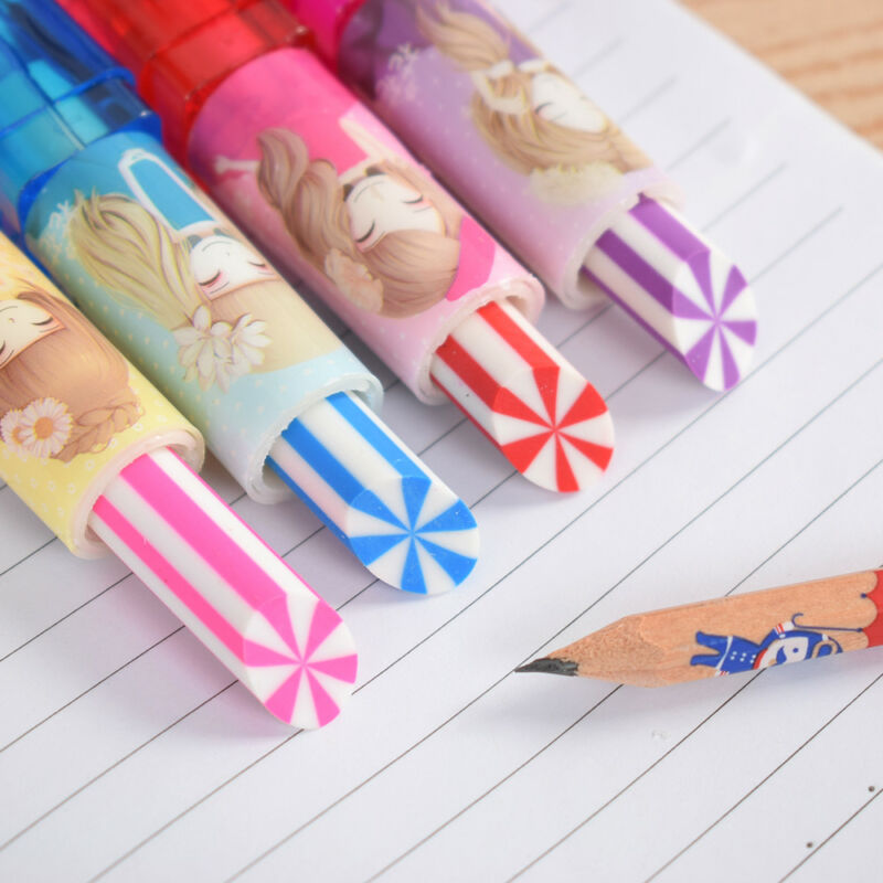 2pcs Colorful Lipstick Rotary Rubber Eraser Stationery Pencil Kids Students 2