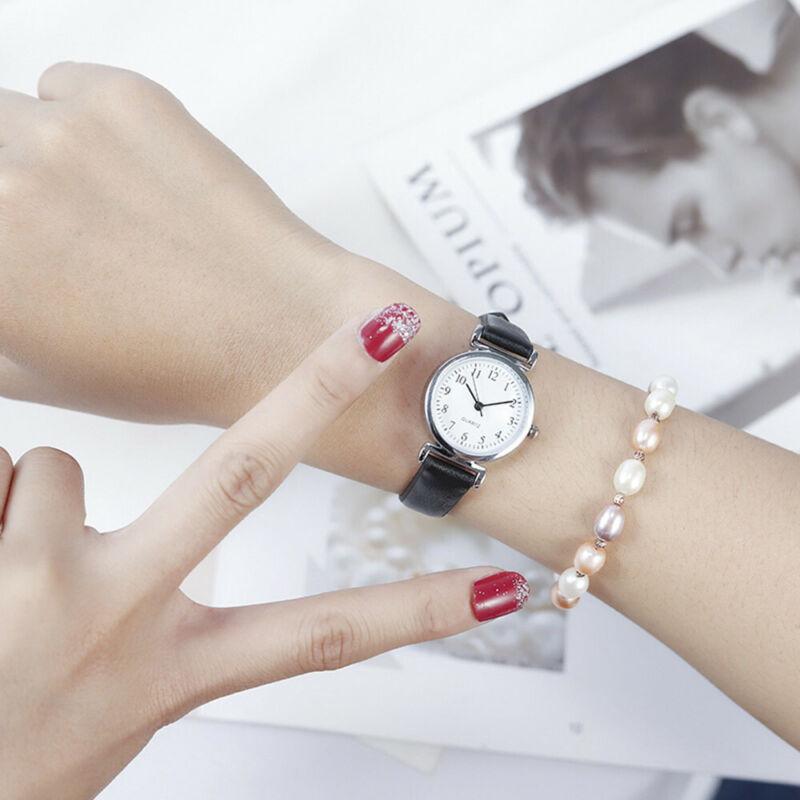 Women's Casual Quartz Leather Band Strap Watch Round Analog Wrist Watch Watches 11