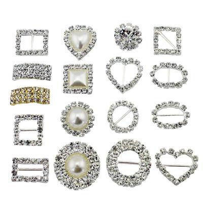 10 Circle, Heart, Or Square Diamante Rhinestone Crystal Buckle Ribbon Sliders 2