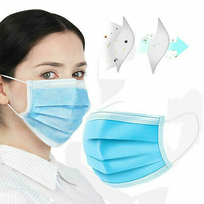 50 PACK Disposable Face Mask Medical Surgical Dental 3-Ply Earloop Mouth Cover 7