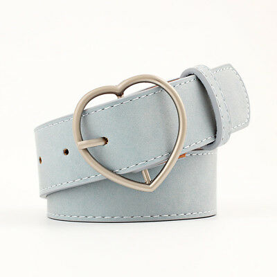 Stylish Ladies Women Heart Buckle Belt Dress Jeans Faux Leather Waistband NEW 12