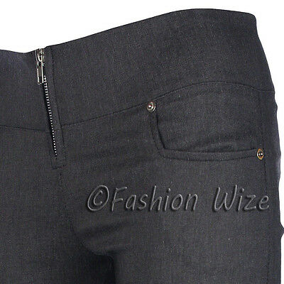 Ladies Girls Smart Trousers Casual Sizes 6 8 10 12 14 Skinny Leg Black Grey S8 5