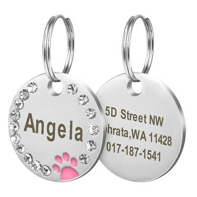Bling Personalized Pet Dog Cat ID Tag Bone/Paw/Round Shape Collar Engraved Free 5