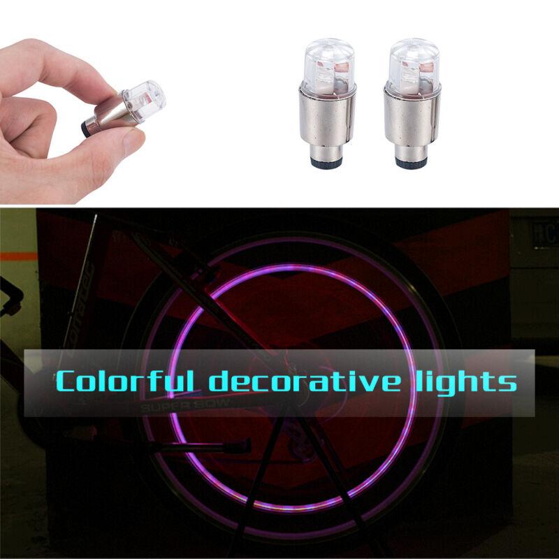 4X Waterproof LED Tyre Wheel Valve Cap Tire Light 7 Color Car Bicycle Motorcycle 8