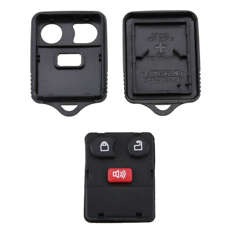 Portable Keyless Entry Replacement Remote Key Fob Shell Case Ford 3 Button`black