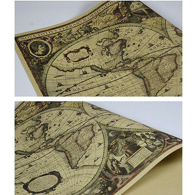 Vintage World Map Globe Matte Brown Paper Old Poster Wall Décor 71x50cm WE9Z 4