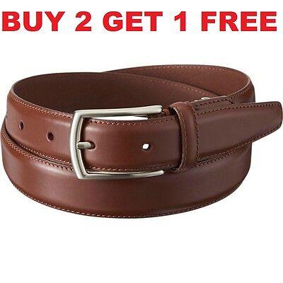 Men/'s Black Brown Casual Dress Genuine Leather Belt w// Buckle Size S M L XL New