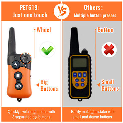 Ipets 1000ft Remote Dog Shock Collar Rechargeable Waterproof Dog Training Collar 11