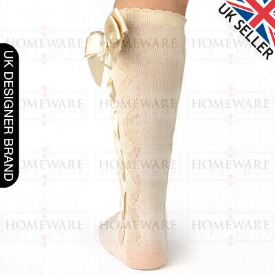 Girls Knee High Bow Socks Spanish Style Slotted Ribbon Socks Uk Designer Kids 4