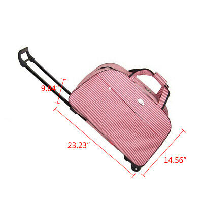 Women Rolling Wheeled Duffle Trolley Bag Tote Carry On Travel Suitcase Luggage 2