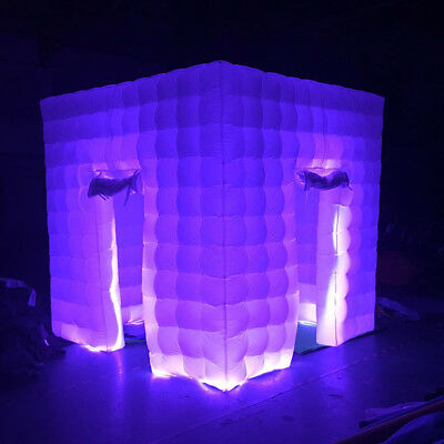 2.5M Inflatable LED Light Photo Booth Air Tent Wedding Party 2 Doors+RC+Fan USA 11