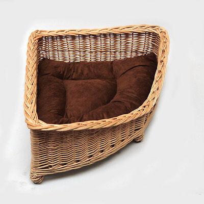 Luxury Corner Wicker Pet Bed Basket Handcrafted 2