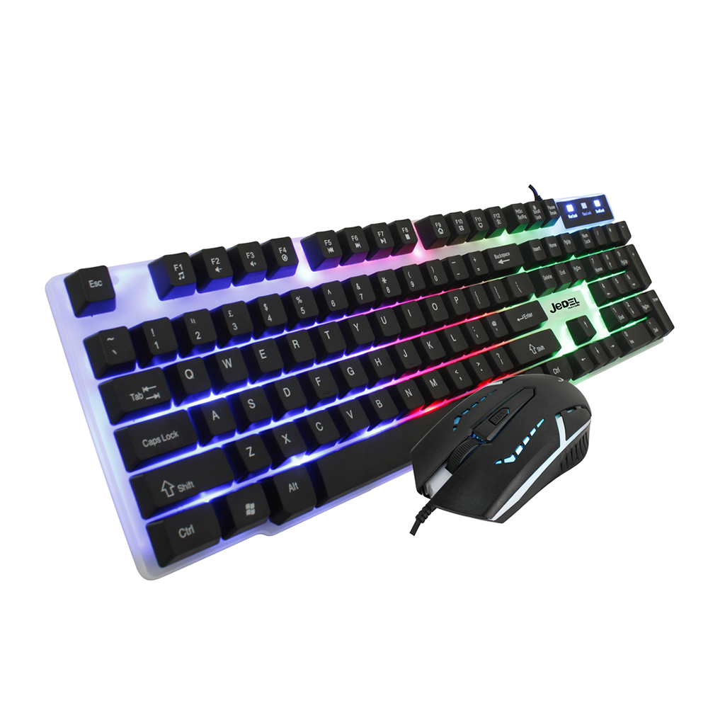 Gaming Keyboard And Mouse Set Rainbow LED Wired USB For PC PS4 Xbox One and 360 2