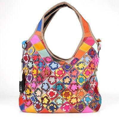 48d3201ac6c93 Leder Schulter Geflochten Tasche Shopper Patchwork Blumen Bunt Vintage     2