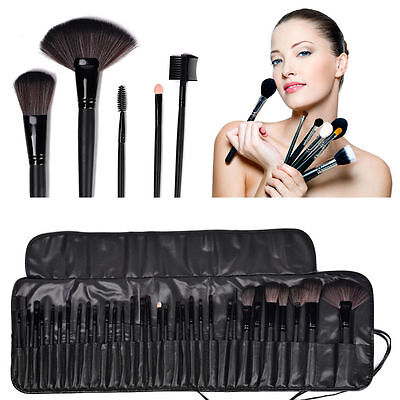 32pc Purple Professional Soft Cosmetic Eyebrow Shadow Makeup Brush Set +Bag Case 7