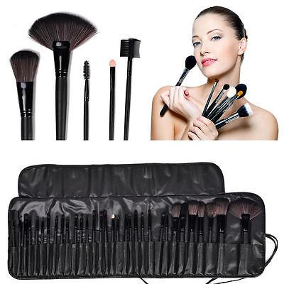 32pc Purple Professional Soft Cosmetic Eyebrow Shadow Makeup Brush Set +Bag Case 7