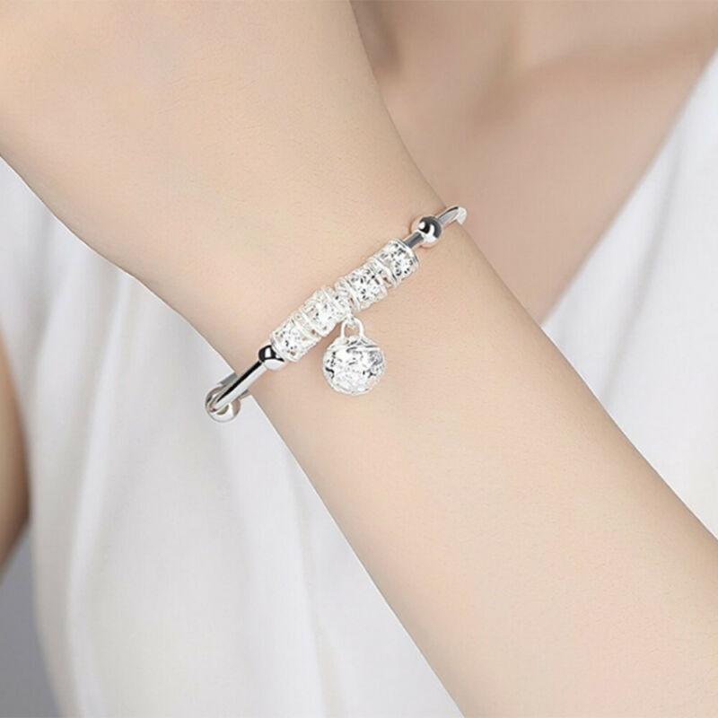 Fashion Women Jewelry 925 Sterling Silver Plated Cuff Bracelet Charm Bangle Gift 4