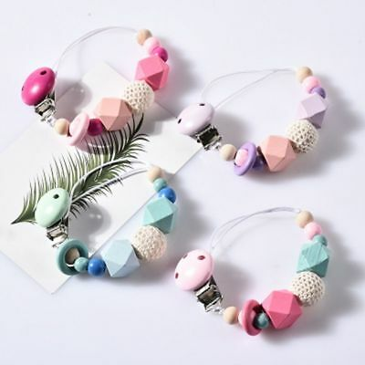 Wooden Bead Holder Soother Silicone Pacifier Clip Teethin For Baby Chew Dummy hi 8